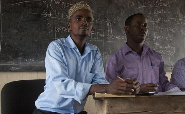 Mukhtar Osman, head teacher at Undugu Primary School in Hagadera refugee camp