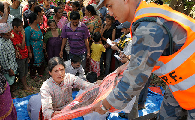 A distribution of tents and tarpaulins to the victims of the earthquake in Kavrepalanchowk district