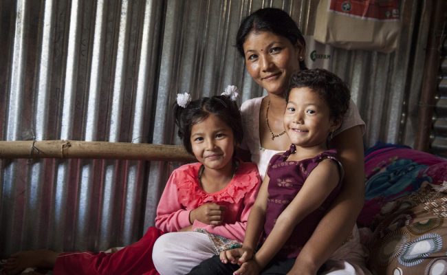 Nepali family supported by DEC member Action Aid