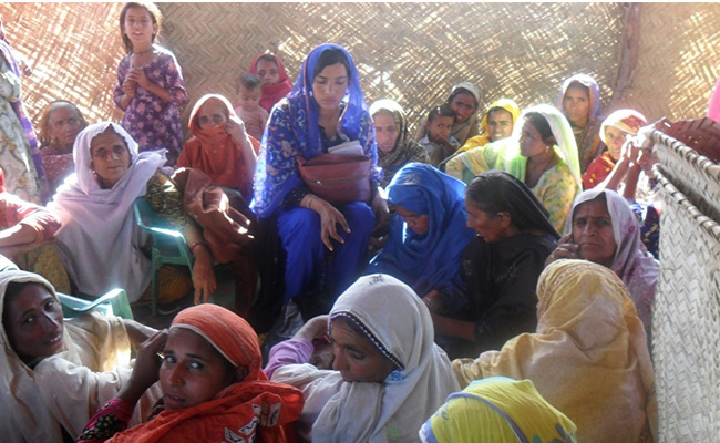 Meeting village women to discuss livelihoods