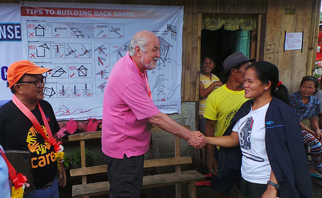 Clive Jones, DEC Chair, visits CARE International shelter project in Philippines