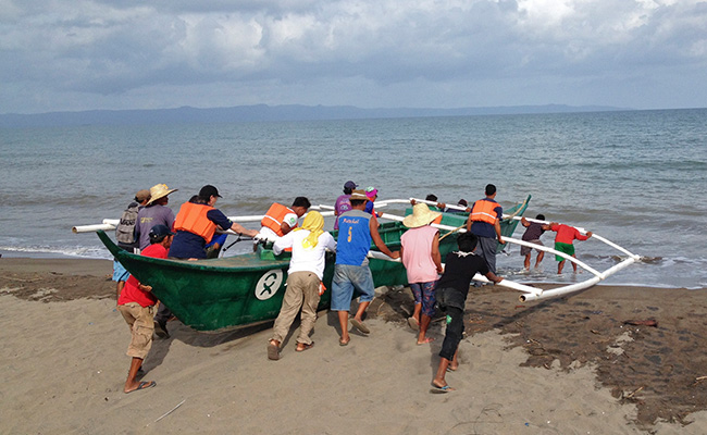 Launching newly built Oxfam boat