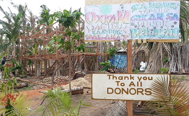 One of many signs erected by survivors expressing their thanks to all donors!