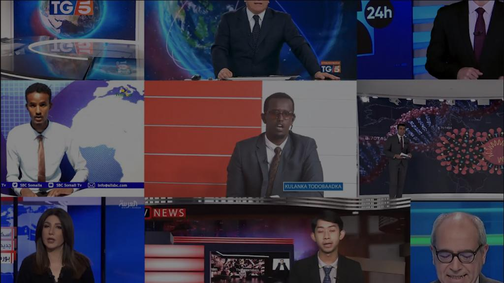 A composite image of newsreaders from around the world