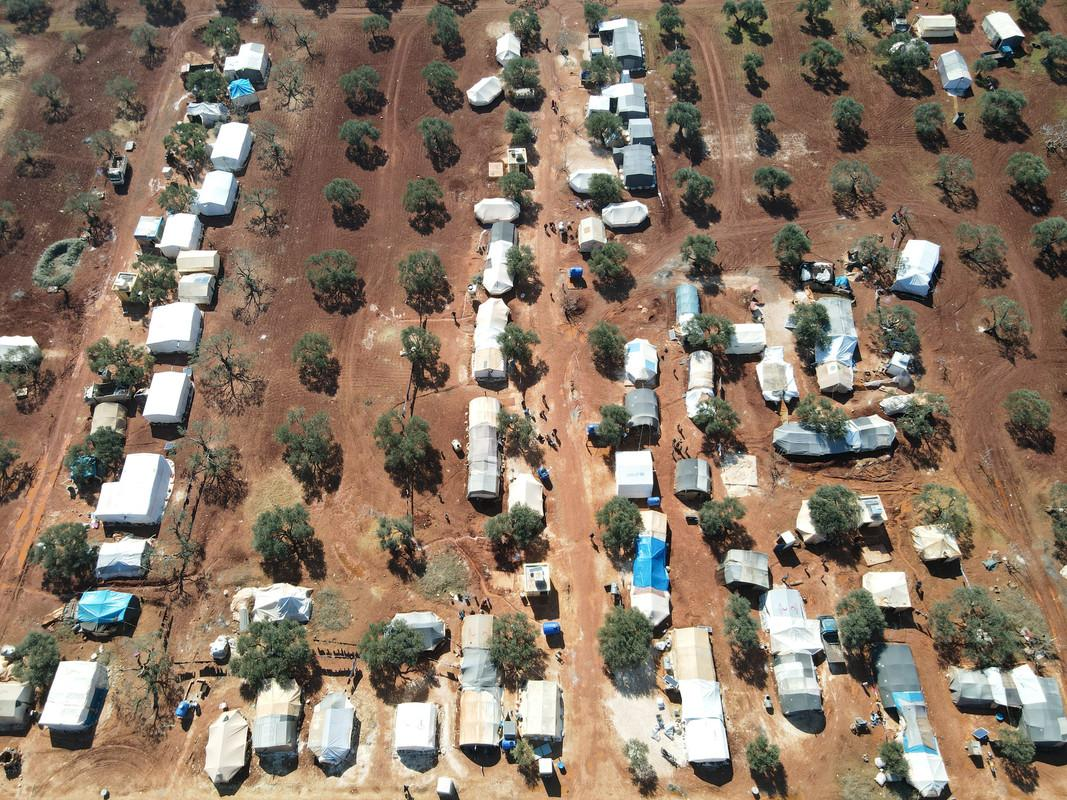 An aerial view of a displacement camp in Syria